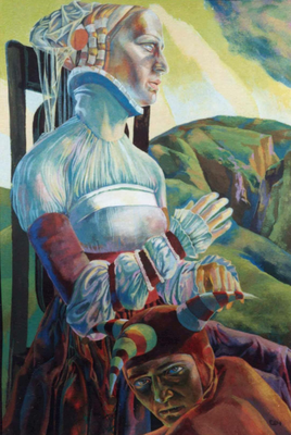 Poor Conrad, Vladimir Skripnik, 1991, tempera, carton, 76x51, ID1036, Comment: The jester knows too many things and the queen dwells in the happiest hope the crow is waiting for the queen and the throne over the power of knowledge presides.