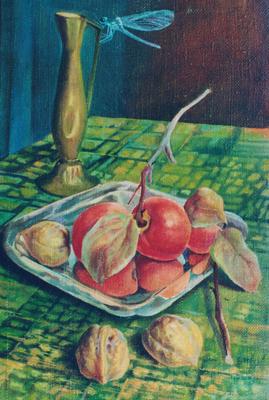 Still life with dragonfly, Vladimir Skripnik, 2000, oil, canvas, 28x42, ID1039