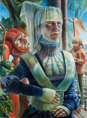 Jester`s Elixir, Vladimir Skripnik, 1992, oil, canvas, 61x81,5, ID1032, Comment: For every sip of the vivifying elixir one must pay dearly. Who can challenge this?