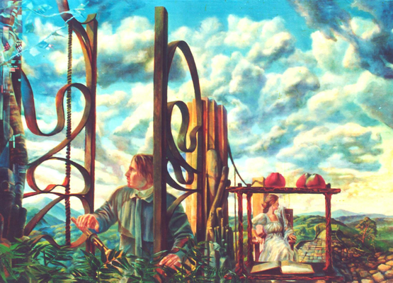Picture with the sky, Vladimir Skripnik, 1998, oil on canvas, canvas, 145x104, ID1034
