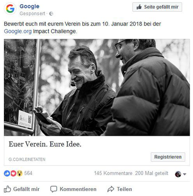 Google Anzeige in Social Media   #gicmunchberg