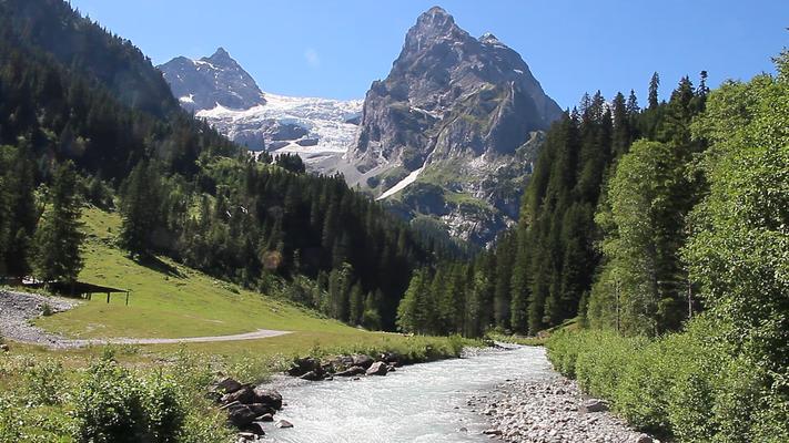 Rychenbach im Vordergrund und im Hintergrund befindet sich der Rosenlauigletscher.