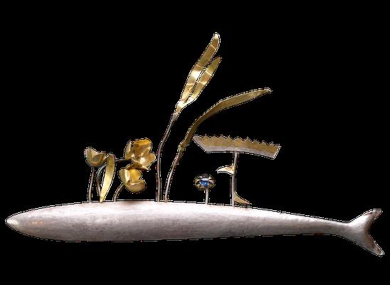 Brosche, Silber, Feingold, div. Edelsteine von Traudl Kammermeier