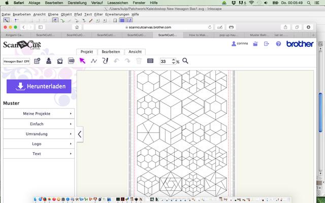 Und so sieht die Brother Canvas Datei für die Hexagon Vorlage aus.