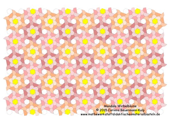 Mandala Wirbelblume als Postkarte. Das BUGA Parkett habe ich abgewandelt, jetzt kann ich mit Hexagons kombinieren.