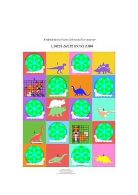 Krabbeldecke Pi-Schnecken-Dinosaurier-Füchse