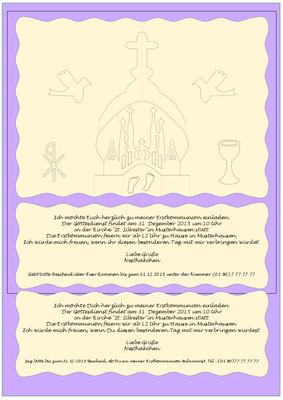 Einladungskarte zur Erstkommunion. (In der PDF Datei sind noch zwei Einladungstexte hinter der Saccrada versteckt). Hinter den beiden sichtbaren Texten ist noch eine Kirigamivorlage versteckt.