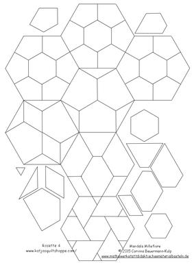 Meine EPP Templates für die April Rosette von Katja Marek's Millefiore The New Hexagon Quilt.