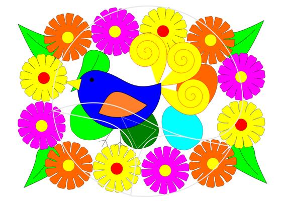 Vogel aus Papptellern gebastelt (die graue Linie ist das Schnittmuster). Hier ist es ein Mandala.