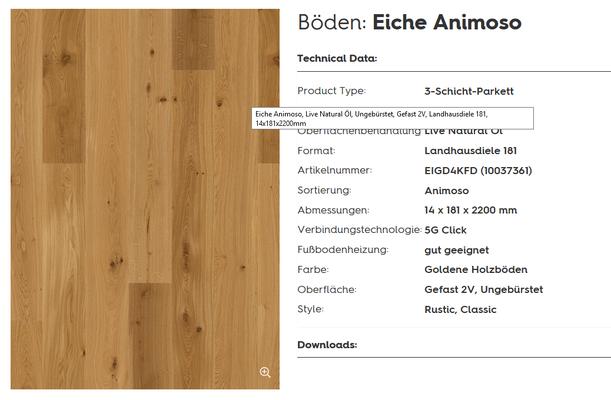 Boen 181 Eiche Animoso Live Natural geölt Parkett Weber Bonn