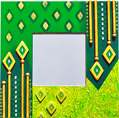 """""""Indien"""" - Spiegel im Holzrahmen mit Modellierung und Spachteltechnik in Acrylfarbe, Glassteinchen und Lackierung, 29 x 29 cm"""