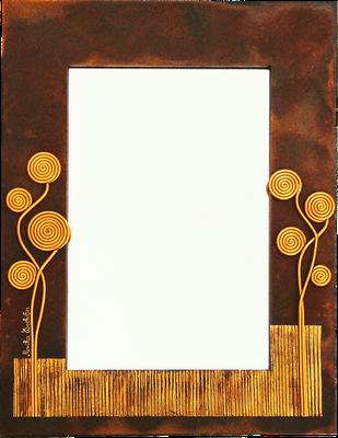 """""""Rost"""" - Spiegel im Holzrahmen mit Modellierung und Spachteltechnik in Acrylfarbe, Rostlackierung, 46 x 61 cm"""