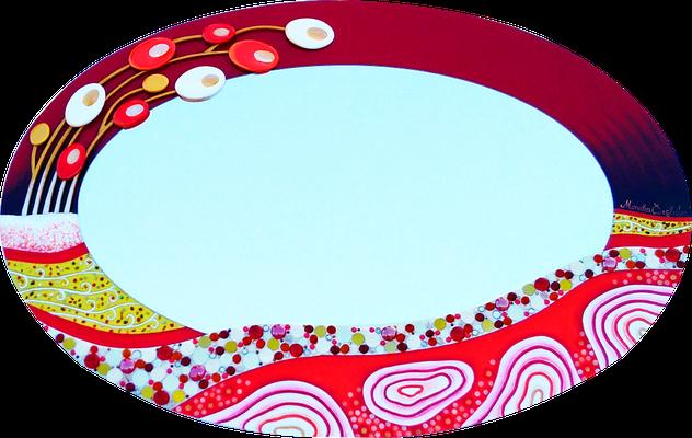 """""""Weg ins Glück"""" - Spiegel auf Holzplatte mit Modellierung und Spachteltechnik in Acrylfarbe, verschiedenen Dekosteinen und Lackierung, 90 x 60 cm"""