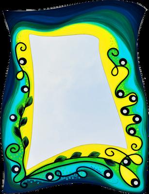 """""""Atlantis"""" - Spiegel auf Holzplatte mit Modellierung in Acrylfarbe, Perlmutt-Plättchen und Lackierung, 59 x 80 cm"""