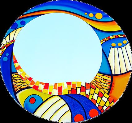 """""""Land der Farben"""" - Spiegel auf Holzplatte mit Modellierung und Spachteltechnik in Acrylfarbe und Lackierung, 80 x 80 cm"""