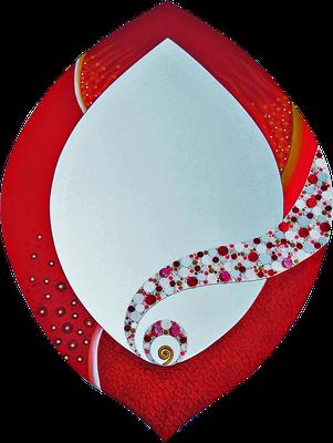 """""""Rote Knospe"""" - Spiegel auf Holzplatte mit Modellierung und Spachteltechnik in Acrylfarbe, verschiedenen Dekosteinen und Lackierung, 61 x 88 cm"""