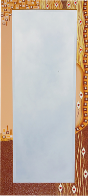 """""""Zauber"""" - Spiegel im Holzrahmen mit Modellierung und Spachteltechnik, Glas- und Mosaiksteinen in Acrylfarbe und Lackierung, 60 x 135 cm"""