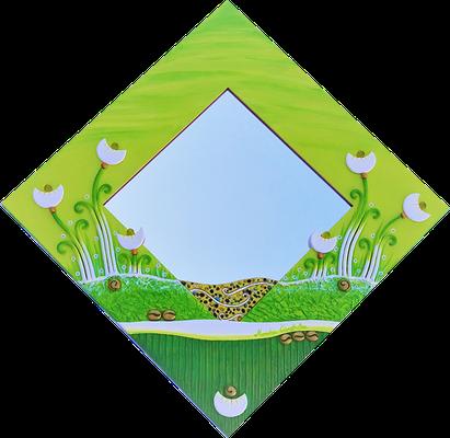 """""""Blumen im Landschaftsmeer"""" - Spiegel im Holzrahmen mit Modellierung und Spachteltechnik in Acrylfarbe, 71 x 71 cm"""