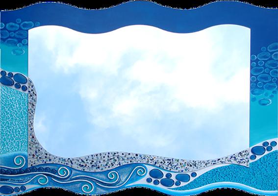 """""""Blue Ocean"""" - Spiegel auf Holzplatte mit Modellierung und Spachteltechnik in Acrylfarbe, Glassteinen und Lackierung, 86 x 66 cm"""