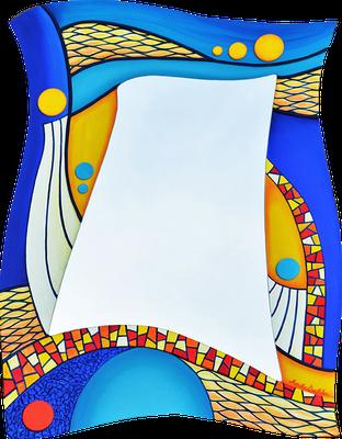 """""""Farbenwelt"""" - Spiegel auf Holzplatte mit Modellierung und Spachteltechnik in Acrylfarbe und Lackierung, 59 x 80 cm"""