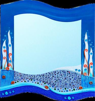 """""""Meeresgrund"""" - Spiegel auf Holzplatte mit Modellierung und Spachteltechnik in Acrylfarbe, Glassteinen und Lackierung, 56 x 61 cm"""