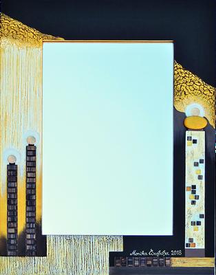 """""""Türme bei Nacht"""" - Spiegel im Holzrahmen mit Spachteltechnik in Acrylfarbe, Glassteinen und Lackierung, 46 x 61 cm"""