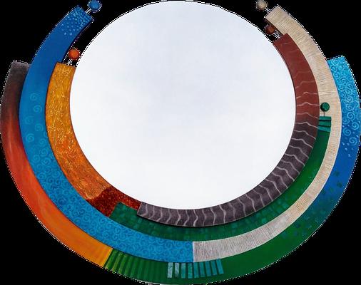"""""""Bunte Welt der Elemente"""" - Spiegel auf Holzplatte mit Spachteltechnik in Acrylfarbe, Dekoperlen, Mosaikglas und Lackierung, 95 x 80 cm"""
