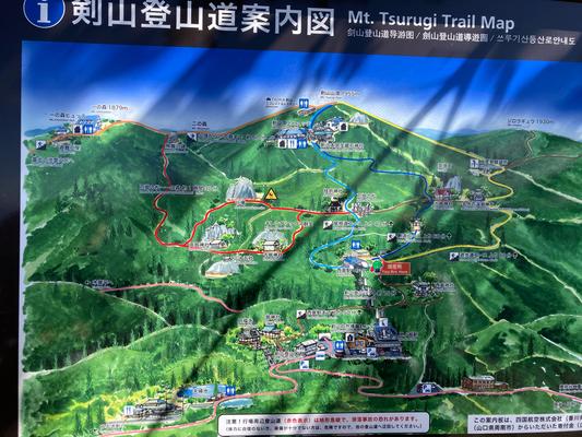 案内図 下の劒神社と万福寺からが見の越コースです