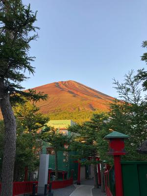 朝日に照らされた富士山 きれいでした