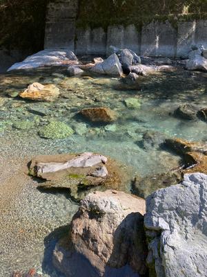 槇渕神社前の穴吹川で水行