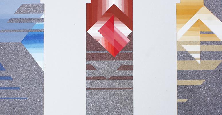 """© Siegfried Schütze, Entwurf """"Drachenflug, Dreiklang"""" für Keramikfliesen und verschiedene Splitte, 1988"""