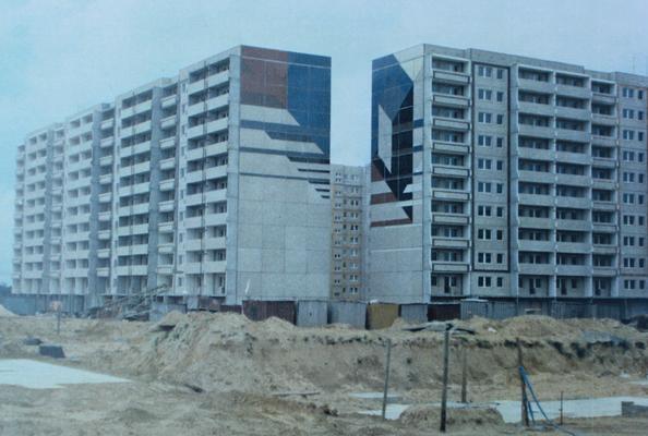 © Siegfried Schütze, Giebelgestaltung - Ausführung, Stadplatz Berlin-Altglienicke, 1989 / verschwunden