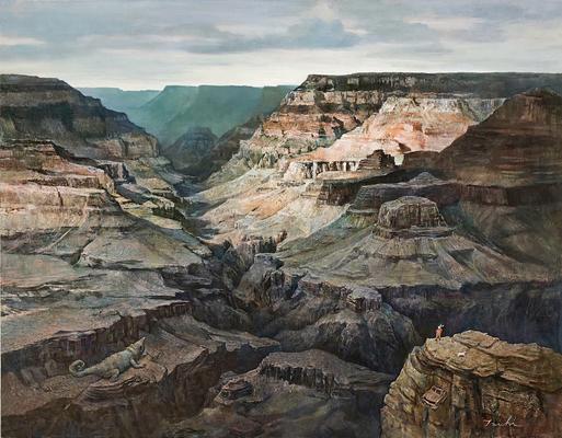 「大峡谷」パネルに油彩 F50 原太一 2019年制作