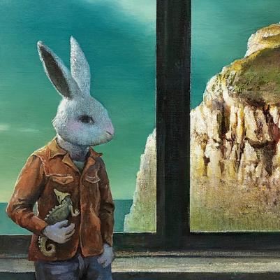 「窓辺にて(部分)」キャンバスに油彩 F8 原太一 2019年制作