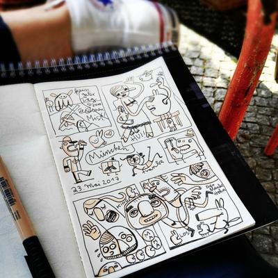 Illustration im Freien, Zeichnung mit Tusche auf Papier von Frank Schulz Art, zeigt humorvolle Kreaturen im Comic Stil