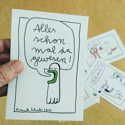 Illustration neu im Shop, Zeichnung mit Tusche auf Papier von Frank Schulz Art, zeigt humorvolle Kreaturen im Comic Stil