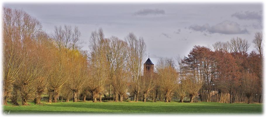 Der Blick zur Haverter Kirche im Selfkant