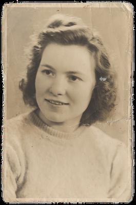 Oude portret foto vergeeld en beschadigd