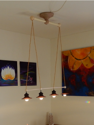 Deckenlampe LED-Spots,     Buchenholz/Birnbaum,     CHF 200.-