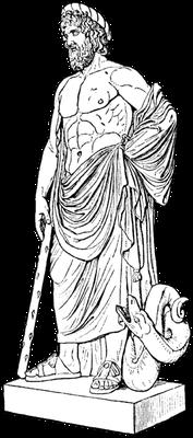 Nachzeichnung der Asklepias-Satue im Louvre (wikmedia)