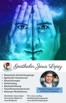 Werbung auf dem Flyer Geistheiler Jesus Lopez