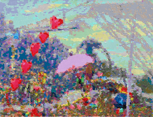 Fusion/Techno-Herzen, 2017, Öl auf Leinwand, 27 x 35 cm