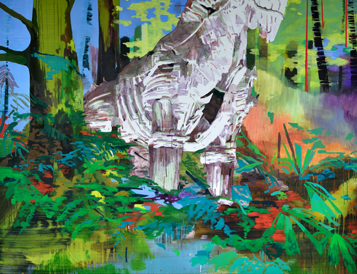 TrojanischesPferd im Wald Acryl/Öl auf Leinwand 180x140cm 2016