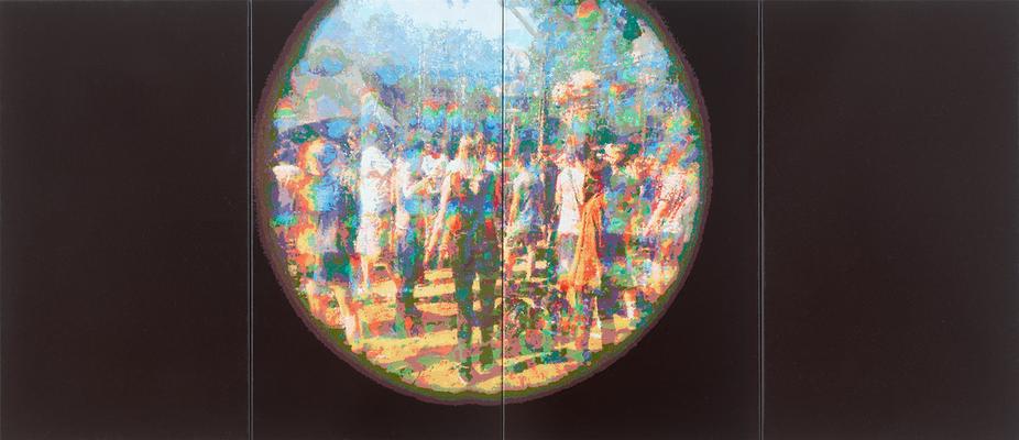 Fusion/Spotlight, 2017, Öl auf Leinwand, 95 x 220 cm (4-teilig)