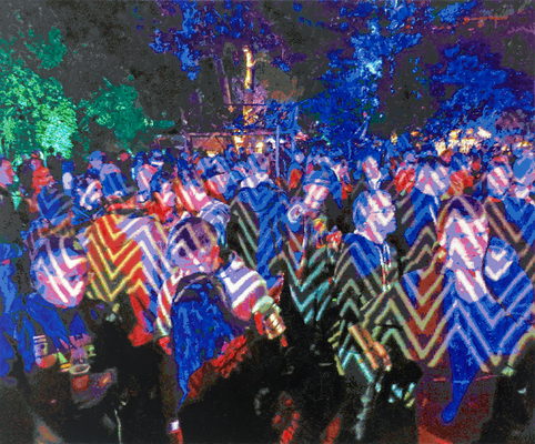 Party-Sträflinge, Öl auf Leinwand, 200x240 cm
