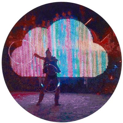 Burning man/Electric Cloud, 2018, Öl und Acryl auf Leinwand, 120 x 120 cm (rund)