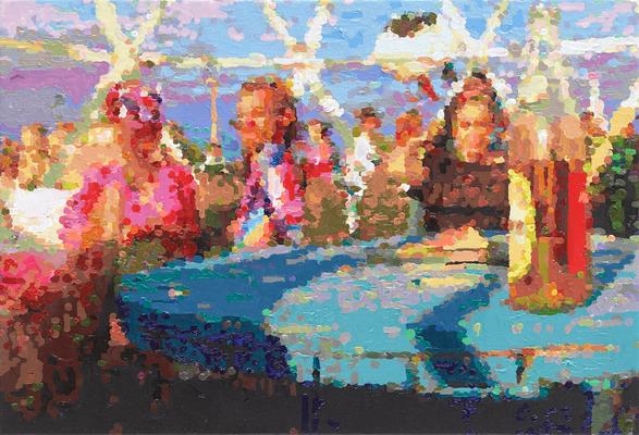 Fusion/Tischrunde mit Club-Mate, 2017, Öl auf Leinwand, 24 x 35 cm