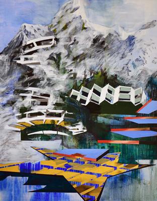 Bergspitze Acryl/Öl auf Leinwand 160x125cm 2016