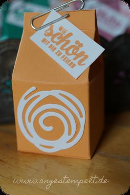 Mini-Milchkarton in Pfirsich pur und mit verwickelter Spirale - Patricia Stich SU 2016