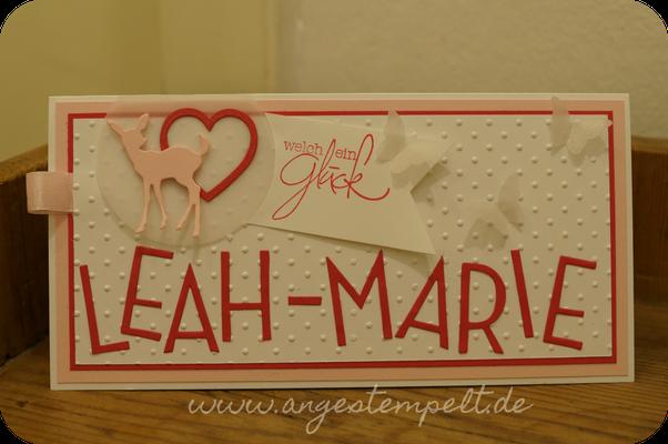 Personalisierte Babykarte für Leah-Marie - Patricia Stich 2016